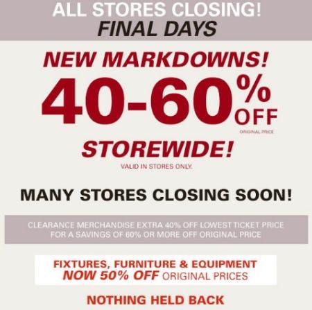 40-60% Off Storewide