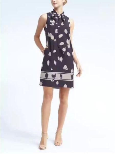 Print Tie-Neck Shift Dress