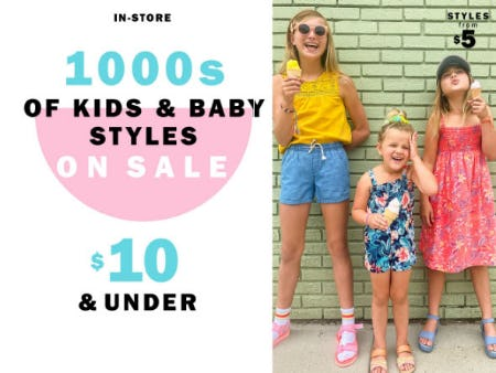1000s of Kids & Baby Styles On Sale