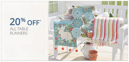 20% Off All Table Runners from Pier 1 Imports