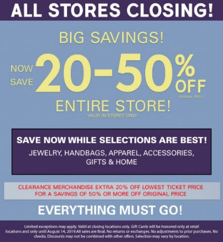 Now Save 20-50% Off Entire Store from Charming Charlie