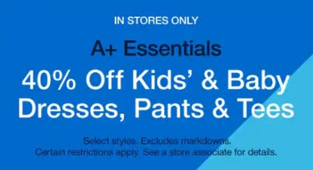 40% Off Kids' & Baby Dresses, Pants & Tees from Gap