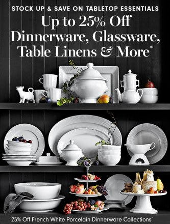 25% Off French White Porcelain Dinnerware Collections from Williams-Sonoma
