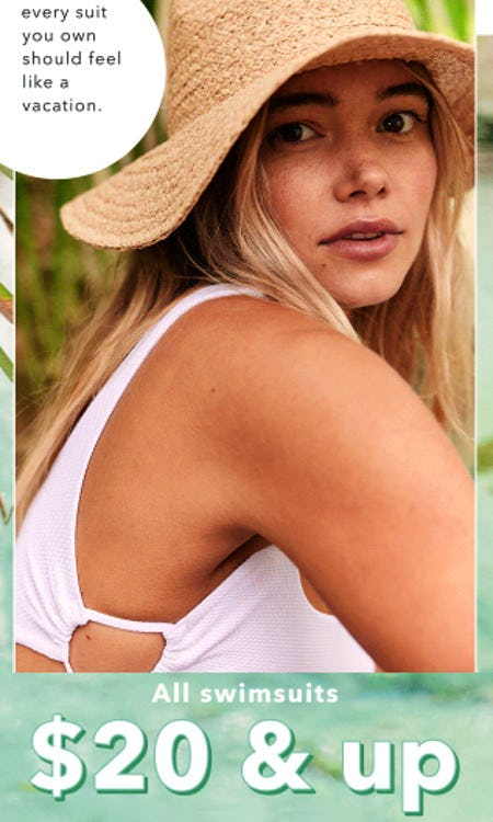 All Swimsuits $20 & Up from Aerie