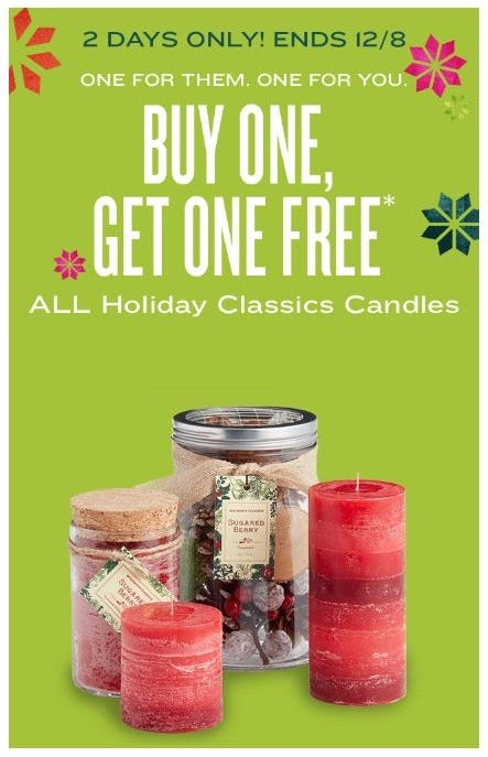 BOGO Free All Holiday Classics Candles from Cost Plus World Market