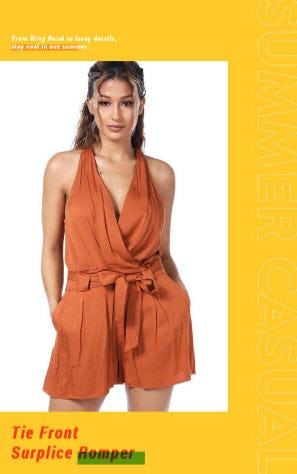 Tie Front Surplice Romper from Papaya