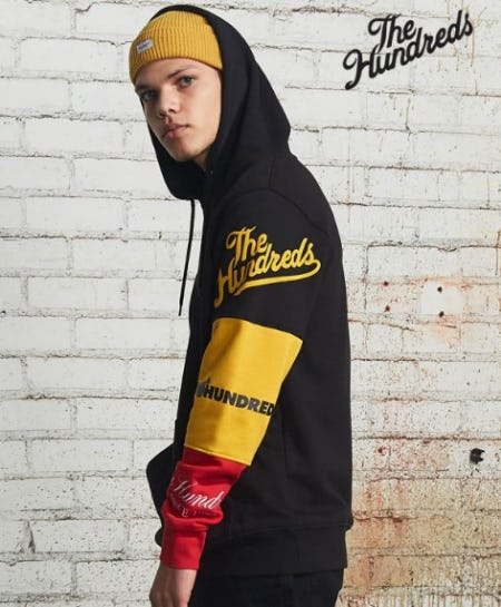 The Hundreds Hollow Black, Red & Yellow Hoodie from Zumiez