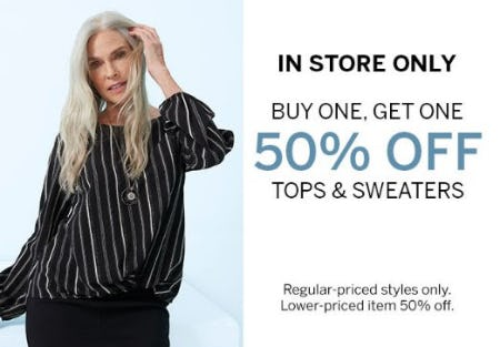 Buy One, Get One 50% Off Tops & Sweaters from Dress Barn, Misses And Woman