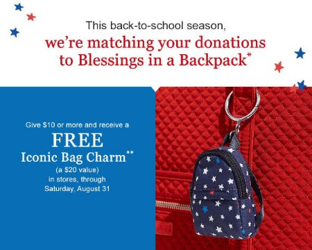Free Iconic Bag Charm When You Give $10 or More from Vera Bradley