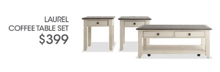 Laurel Coffee Table Set $399 from Bob's Discount Furniture