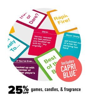25% Off Games, Candles, & Fragrance from francesca's