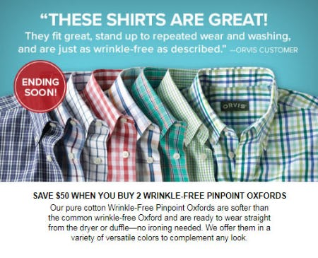 Buy 2 Wrinkle-Free Pinpoint Oxfords, Save $50 from Orvis