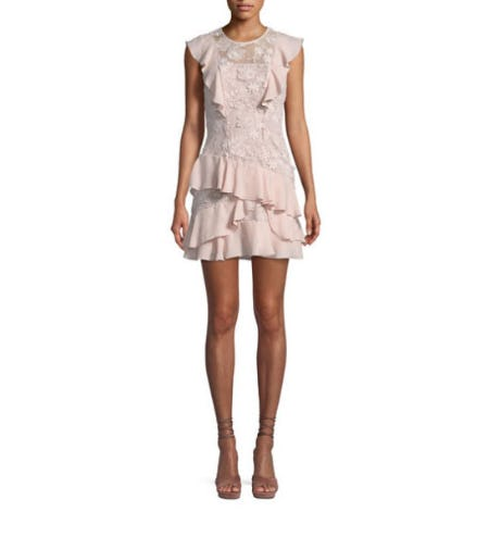 Parker Gabriel Floral-Lace Combo Dress with Ruffled Frills from Neiman Marcus