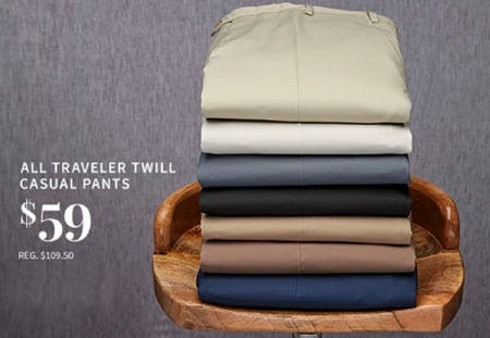 All Traveler Twill Casual Pants $59 from Jos. A. Bank