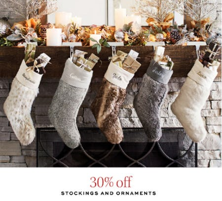 30% Off Stockings and Ornaments from Pottery Barn