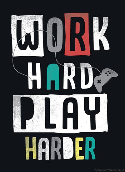 "Boys t-shirt design with the written words, ""work hard play harder."""