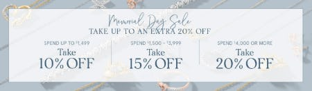 Up to 20% Off Memorial Day Sale from Zales Jewelers