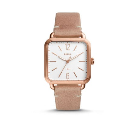 Micah Three-Hand Sand Leather Watch