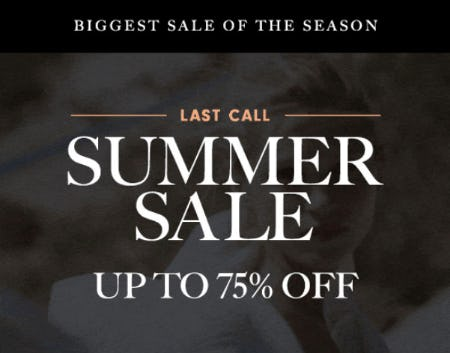 Up to 75% Off Summer Sale