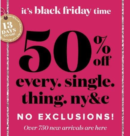 50% Off Every Single Thing NY&C