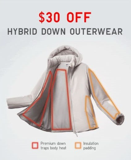 $30 Off Hybrid Down Outerwear from Uniqlo