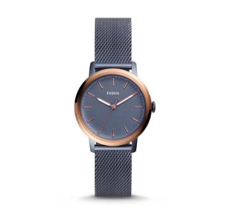 Neely Three-Hand Steel Blue Stainless Steel Watch