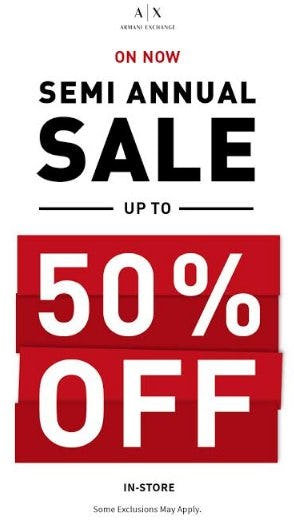 Semi Annual Sale from A|X Armani Exchange