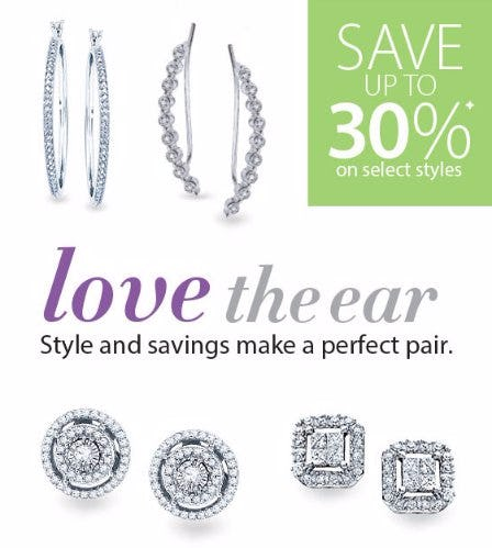 Select Earrings up to 30% Off