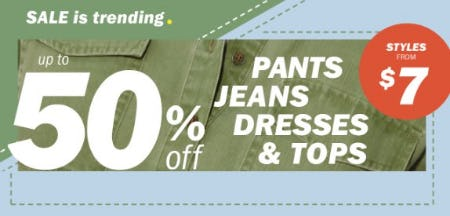 Up to 50% Off Pants, Jeans, Dresses & Tops from Old Navy