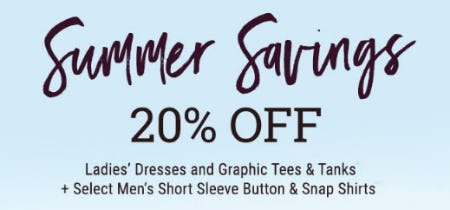 Summer Savings 20% Off from Boot Barn Western And Work Wear