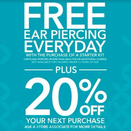 Free Ear Piercing Everyday at Claire's! from Claire's