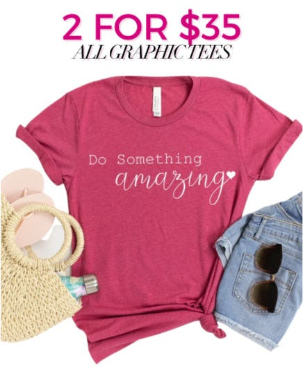 2 for $35 All Graphic Tees from Charming Charlie