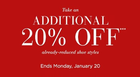 Additional 20% Off Already-Reduced Shoe Styles