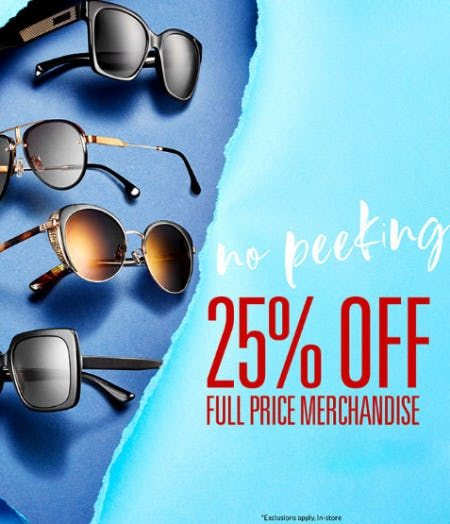 d076831344 Sale at Solstice Sunglass Boutique. 25% Off Full Price Merchandise
