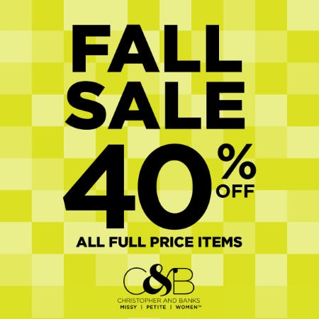 Fall Sale - 40% off all full-price items