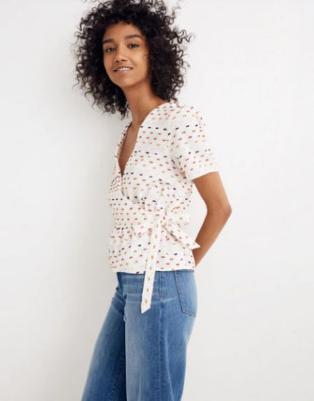 Ruffle-Hem Wrap Top in Clipdot from Madewell