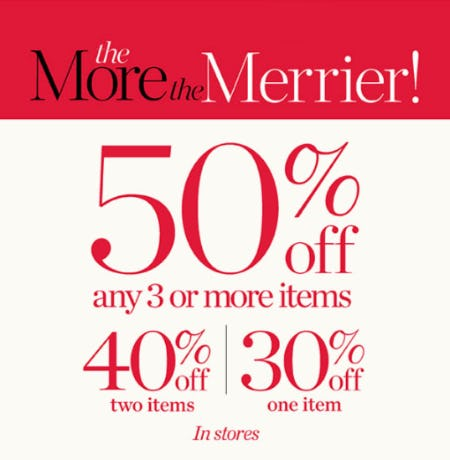 50% Off Any 3 or More Items Purchase from Talbots