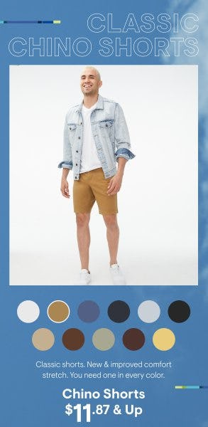 Chino Shorts $11.87 & Up