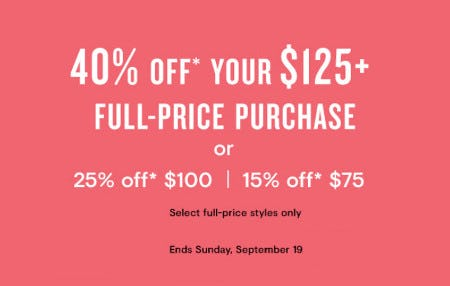 40% Off Your $125 Full-Price Purchase from Loft