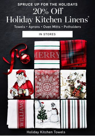 20% Off Holiday Kitchen Linens from Williams-Sonoma