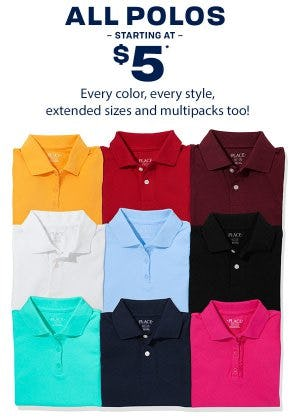 All Polos Starting at $5 from The Children's Place