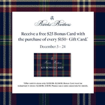 Free $25 Bonus Card from Brooks Brothers