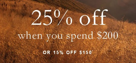 25% Off When You Spend $200 or 15% Off $150 from Abercrombie & Fitch