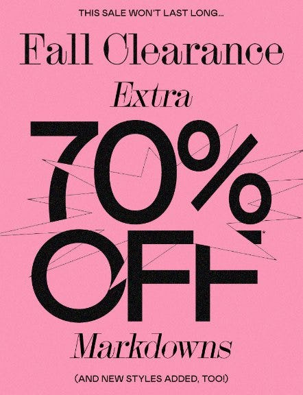 Extra 70% Off Markdowns