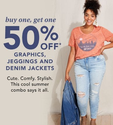 Buy One, Get One 50% Off Graphics, Jeggings and Denim Jackets from maurices