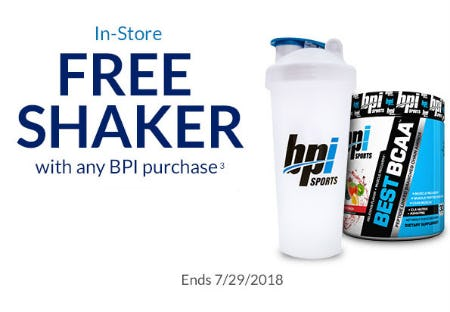 Free Shaker With Any BPI Purchase from The Vitamin Shoppe