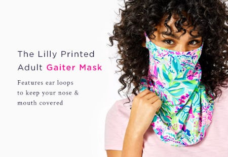 The Lily Printed Adult Galter Mask from Lilly Pulitzer