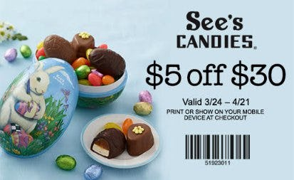 Visit See's Candies for $5 off $30* from See's Candies