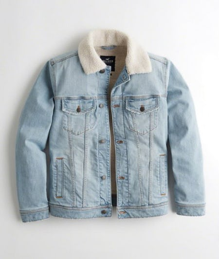 Sherpa-Lined Denim Trucker Jacket from Hollister Co.