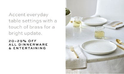 20-25% Off All Dinnerware & Entertaining from Pottery Barn
